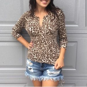 Banana Republic Leopard Crew Neck Up Sweater